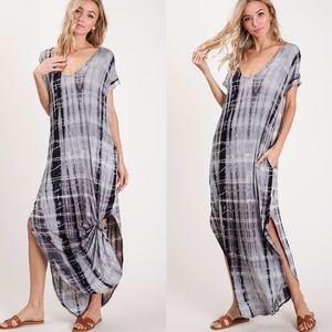 EMMA Tie Dye Maxi Dress - CHARCOAL